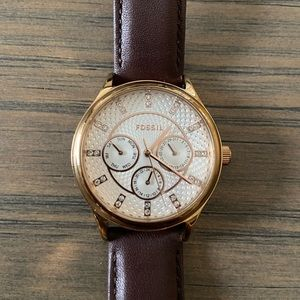 Gold Fossil Watch w/ Dark Brown Leather Band